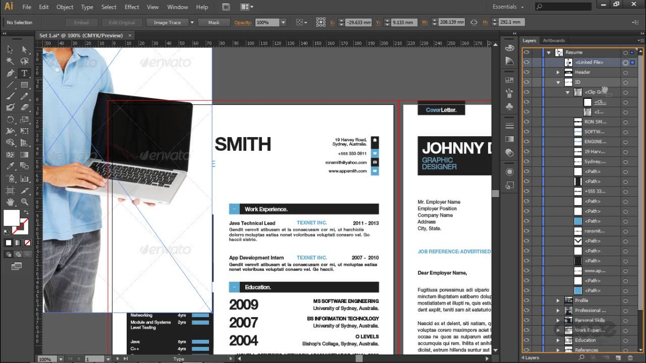 simple resume cv template and mini portfolio illustrator youtube