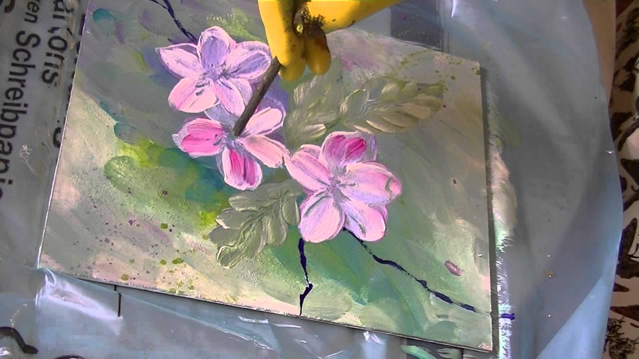 acrylmalerei f r anf nger apfelbl ten acrylic painting for beginners apple blossoms youtube. Black Bedroom Furniture Sets. Home Design Ideas