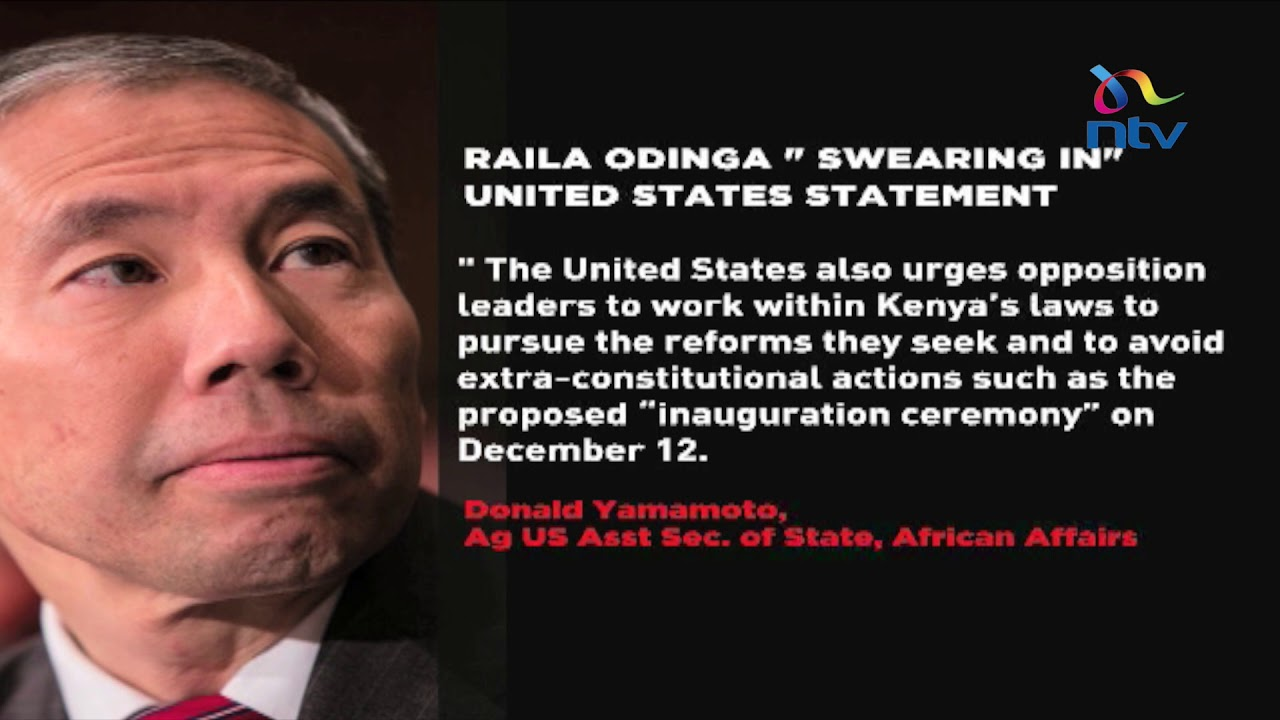 United States opposed to Raila's swearing in plans