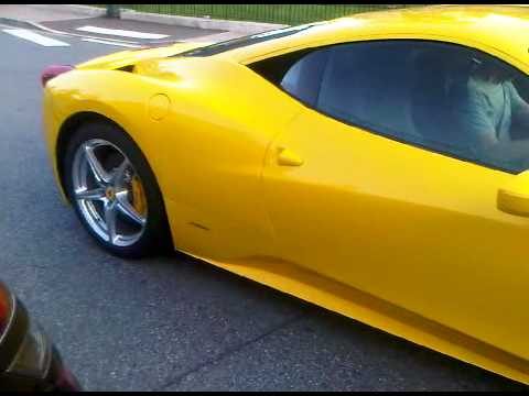 Yellow Ferrari 458 Italia Start Up