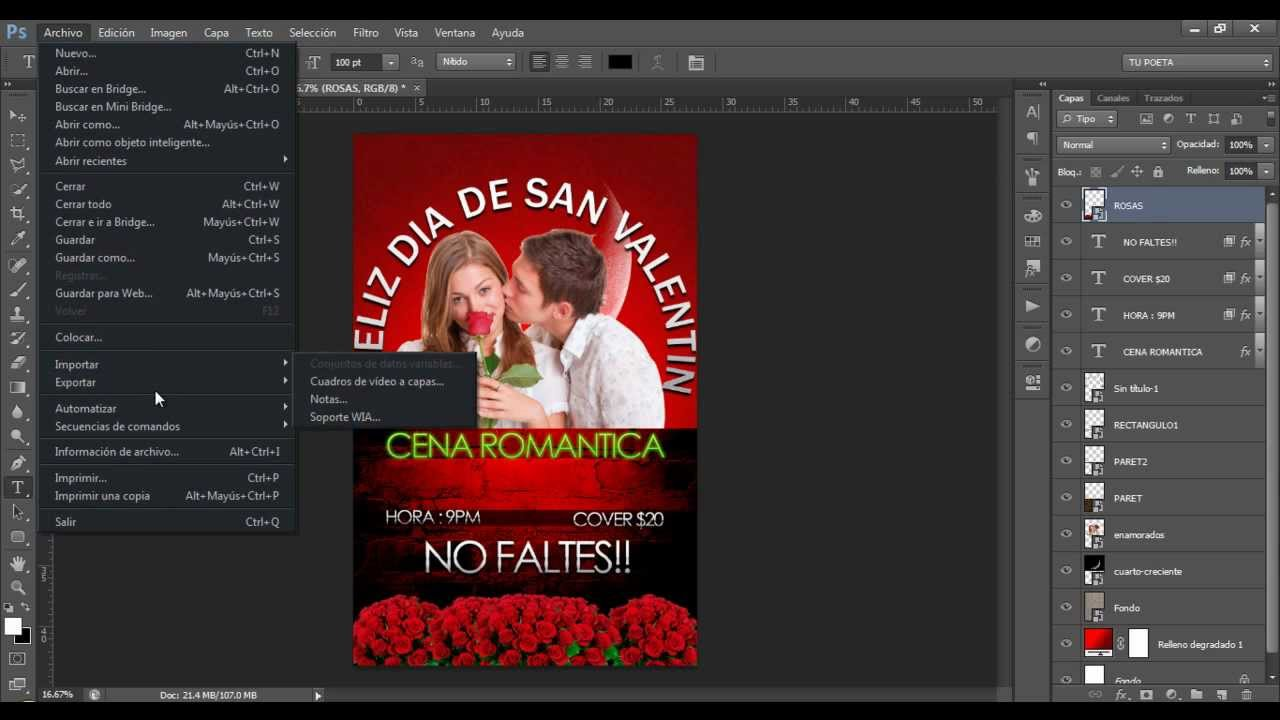 Tutorial De Photoshop Flyer De San Valentin YouTube