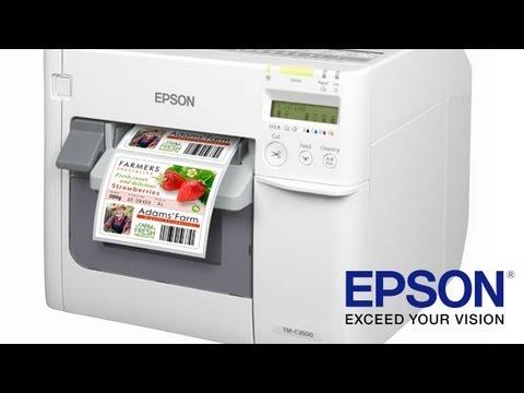 Epson TM-C3500 full colour label printer - english - YouTube