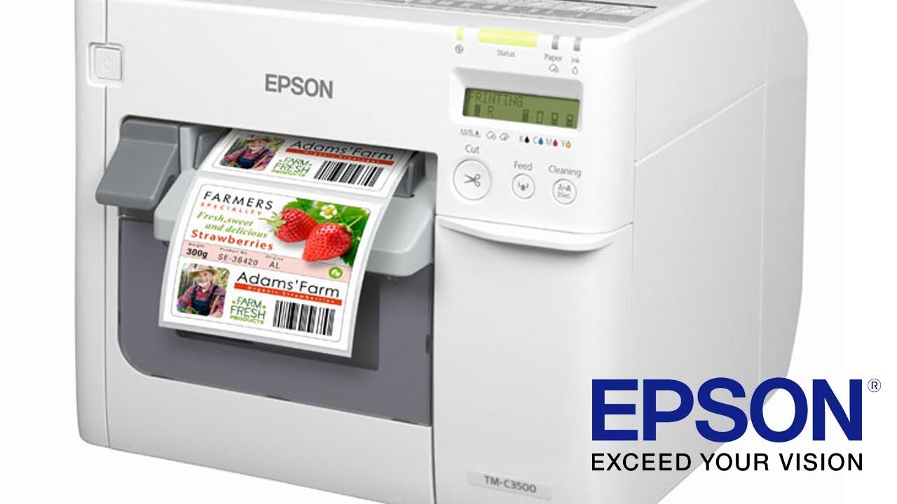 Epson tm c3500 full colour label printer english youtube
