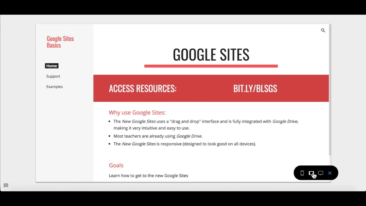 changing navigation in the new google sites