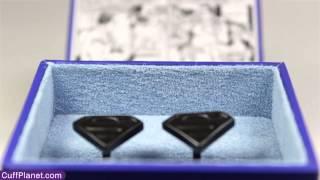 "Superman Cufflinks Satin Black Shield - CuffPlanet ""We Spcialize in Cool"" Thumbnail"