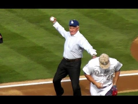 Apollo Astronaut Buzz Aldrin Throws First Pitch at Dodger Stadium - 2nd Man to Walk on Moon