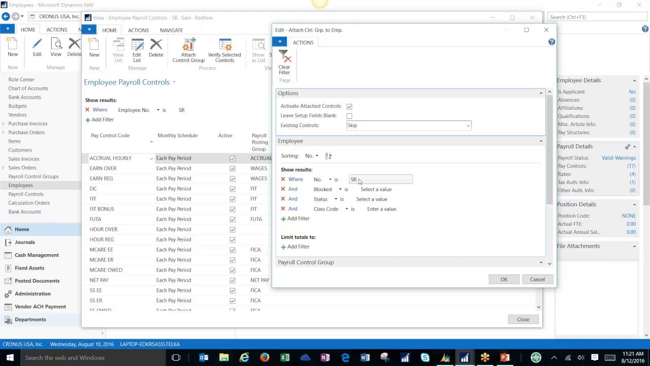 Setting Up A Payroll Control In Microsoft Dynamics Nav 2016 Youtube