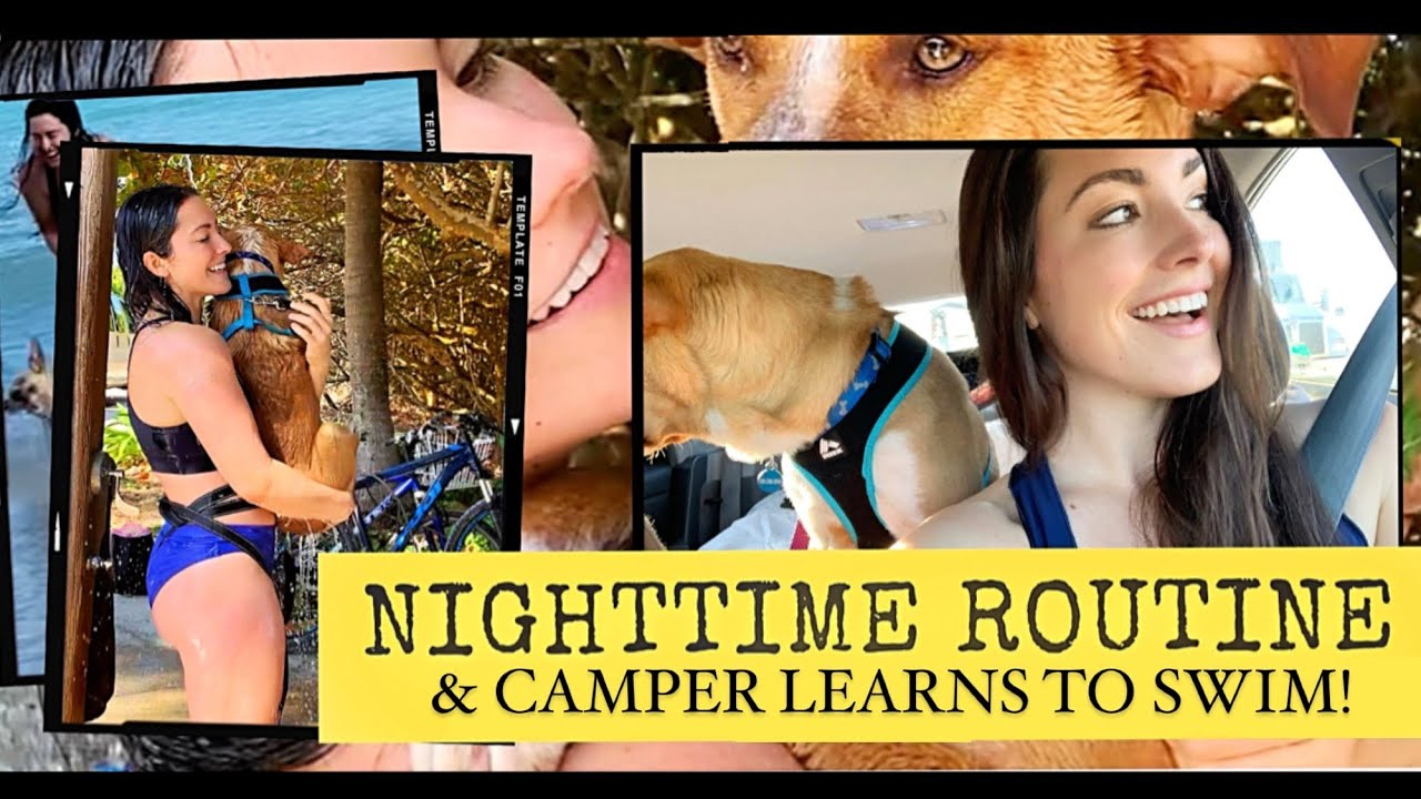 I LIVE in a CAR with my DOG: NIGHTTIME ROUTINE & Camper learns to swim!