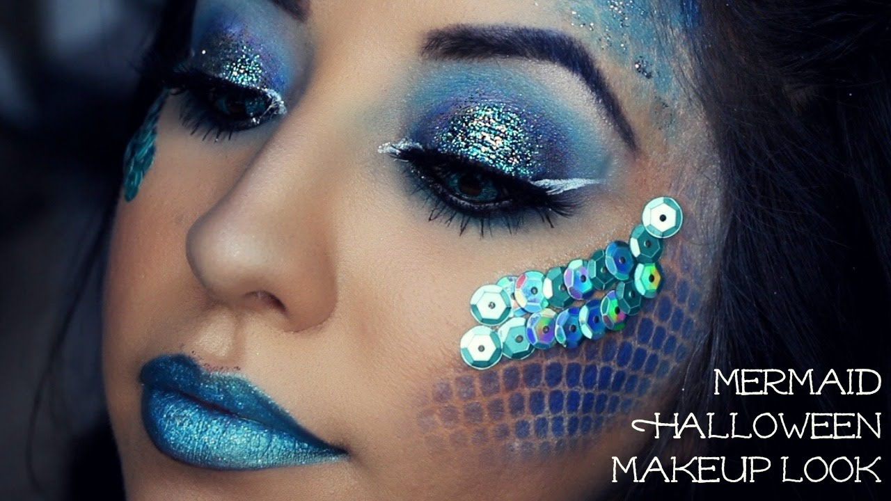 Mermaid Halloween Makeup Look - YouTube