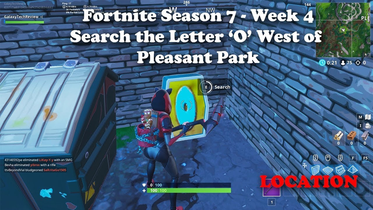 Fortnite Season 7 Week 4 Search The Letter O West Of Pleasant Park