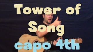 Tower Of Song (Tom Jones) Easy Guitar Lesson Capo 4th Fret How to Play Tutorial