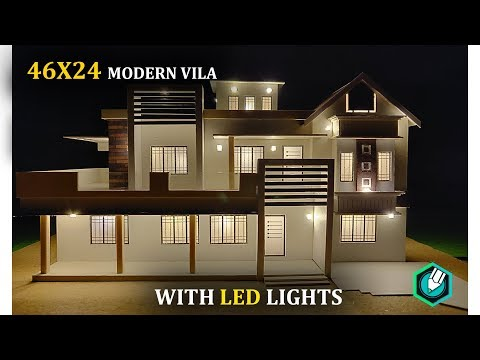 HOW to MAKE a CARDBOARD house with LED LIGHTS | 46X24 | CONTEMPORARY MODERN HOUSE