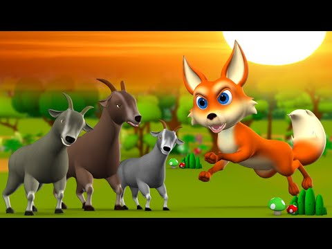 The Wolf and 3 Wise Goats Telugu Story - తోడేలు, మూడు తెలివైన మేకలు కధ 3D Kids Bedtime Fairy Tales