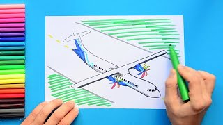 How to draw and color an Indigo propeller airplane