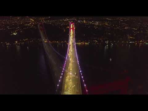 İstanbul Bosphorus Bridge at night from a drone