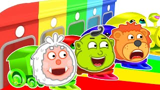 Lion Family   Colorful Train. Hot Wheels   Cartoon for Kids