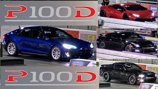 QUICKEST Tesla P100D vs THE WORLD - GTR, GT500, HURACAN and GOLF R - Road Test TV