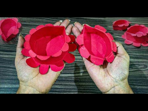 DIY how to make paper diya for deepavali 2019 || diwali craft || diwali special decoration ideas