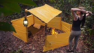 Solo Bushcraft Camp Build Shelter Using Plastic Tape - Survival Alone In Rainy Season