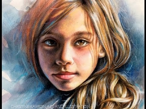 Watercolor and colored pencil portrait speed painting by ch karron