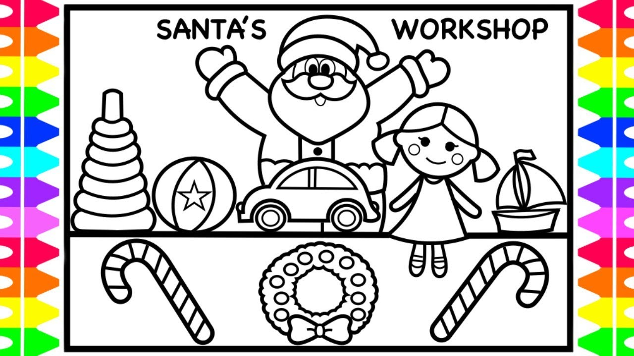 how to draw santa making toys santa coloring pages for kids fun