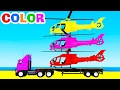LEARN COLOR w HELICOPTER on Truck Learn Numbers & Cars Cartoon for Kids Spiderman Learning Video