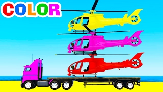 LEARN COLOR w HELICOPTER on Truck