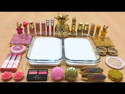 PINK vs GOLD  Mixing Makeup Eyeshadow into Glossy Slime ! Special Series #48 Satisfying Slime Videos