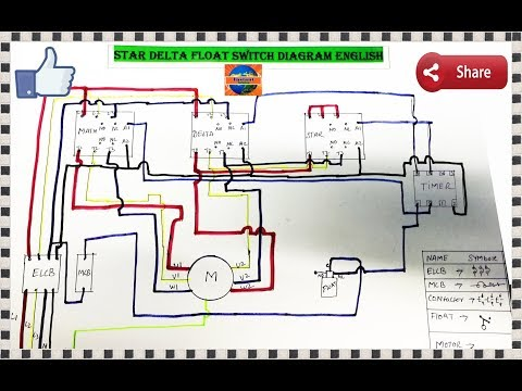 3 Phase Water Pump Motor Star Delta Float Switch Wiring Diagram In English Youtube