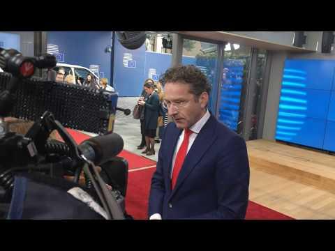 Arrival and doorstep Eurogroup President (Dijsselbloem)