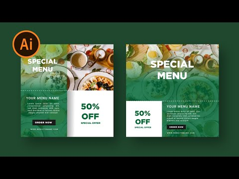 Social Media Banner Design For Food Menu | illustrator Tutorial thumbnail