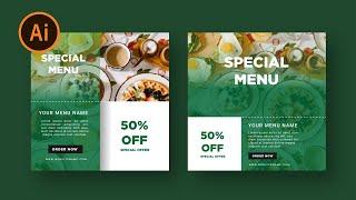 وسائل الاعلام الاجتماعية راية تصميم قائمة الطعام | البرنامج التعليمي المصور