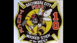 Baltimore City Fire Department - Truck 10 - Working Fire  audio