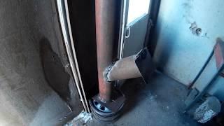 Печка в гараж из двух труб