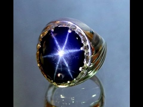 Natural Star Blue Sapphire 1850 Carats Amp Silver 925 Ring