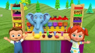 Juice Dispenser Machine Toy Set | Elephant and Babies Fun Learning Fruits Name for Children Kids 3D