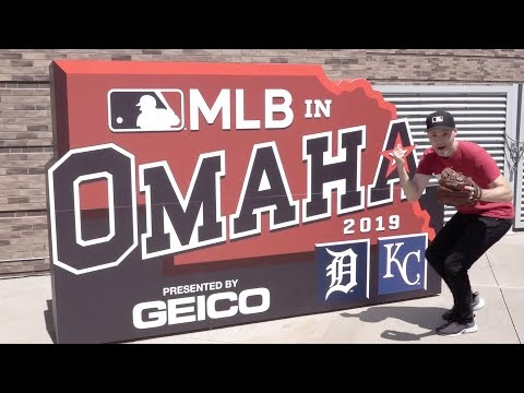 Catching a baseball at 55 DIFFERENT MLB STADIUMS! (TD Ameritrade Park in Omaha)