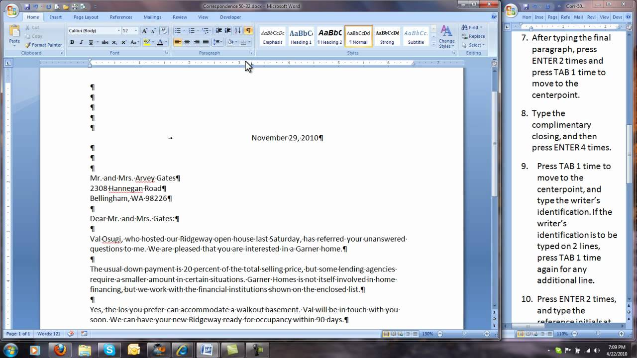Corr 50 32 Modified Block Style Business Letter Youtube