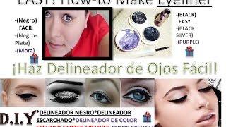 DIY 3 Eyeliner Black,Silver,Color Purple/Como Hacer Delineador Ojos Negro,Plateado,y Color Morado. Thumbnail