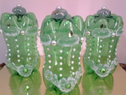 Best out of waste plastic bottles converted to decorative for Best out of waste making