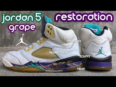 HOW TO RESTORE BEAT JORDAN 5 GRAPE || FULL RESTORATION