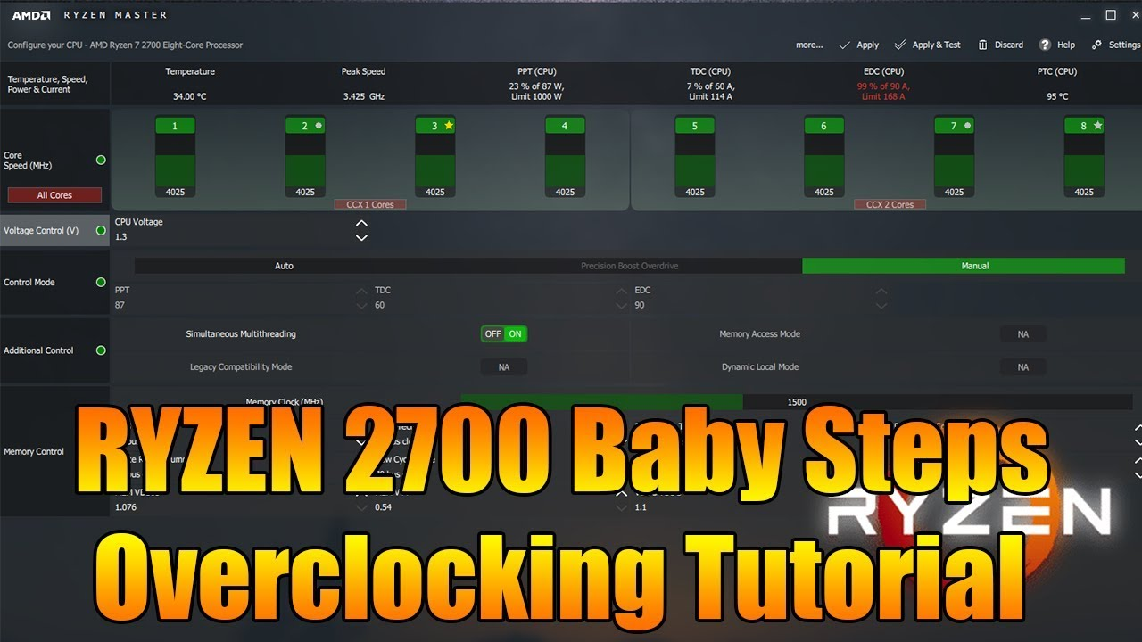 Ryzen 7 2700 4 025Ghz Overclocking Tutorial with Ryzen Master Software