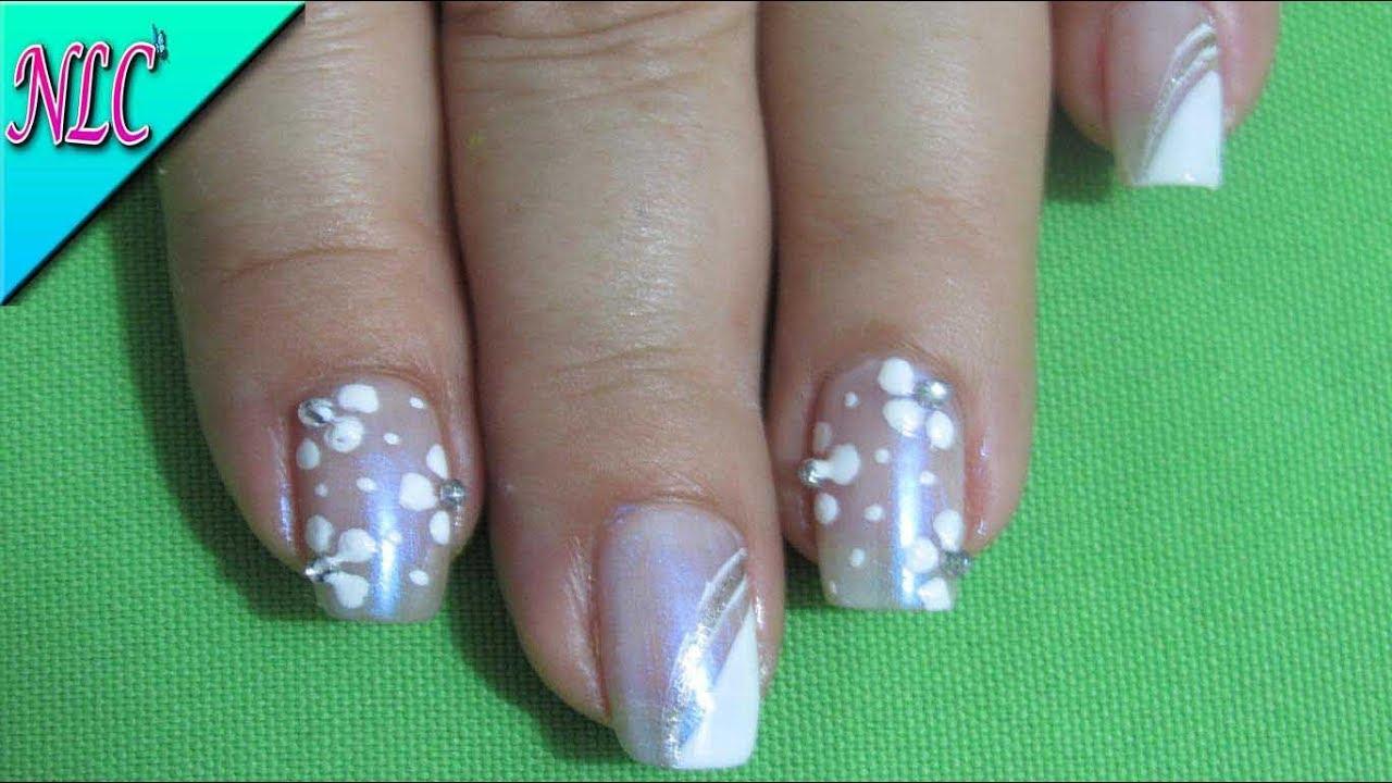 DECORACIÓN de UÑAS FRANCÉS Y FLORES♥ - French nail art - flowers ...