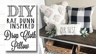 DIY Rae Dunn Inspired Drop Cloth Pillow | *NO SEW*