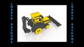 Front End Loader With Back Hoe Wood Toy Pattern For Cnc Router