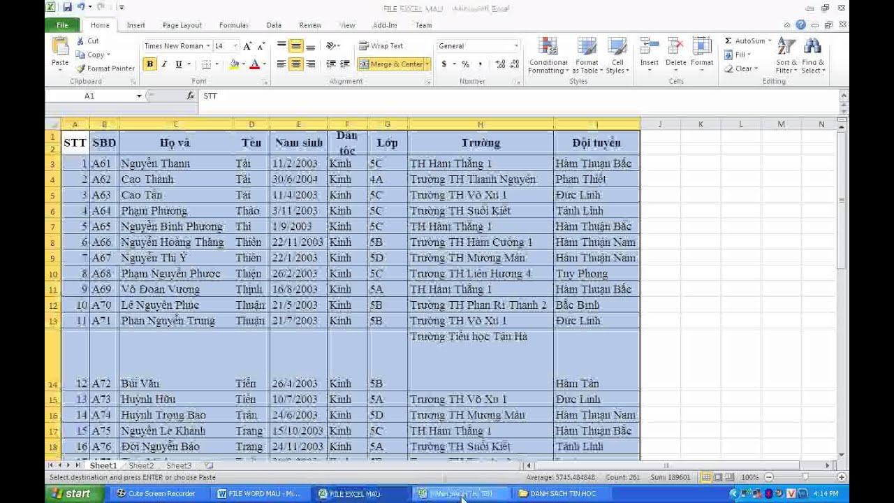 liên kết dữ liệu từ excel sang word dùng mail merge