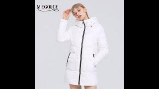 Miegofce 2021 зимняя новая женская хлопчатобумажная куртка средней длины простой ветрозащитная стиль