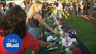 Texas community holds vigil for Santa Fe school shooting victims - Daily Mail