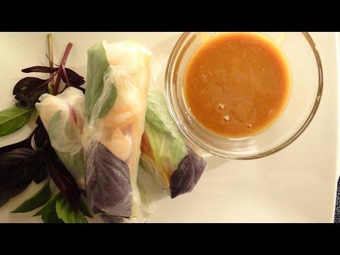 Thai Basil Rolls Recipe with Peanut Sauce (Family Dinner- Spring Rolls)