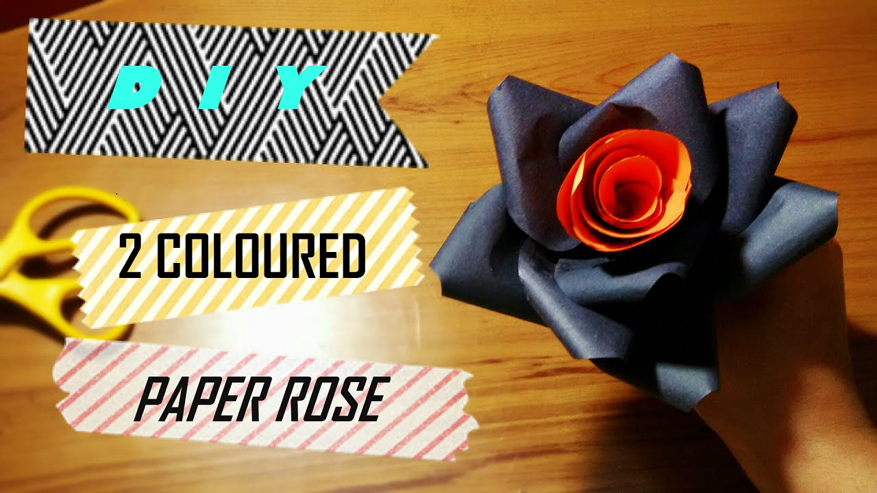how to make a two coloured rose with paper everything cute youtube